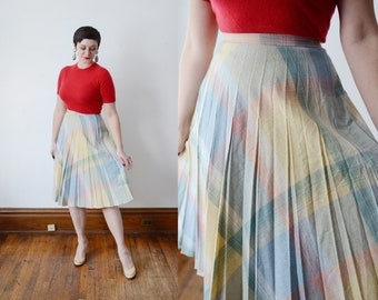 1980s Pastel Plaid Skirt - S