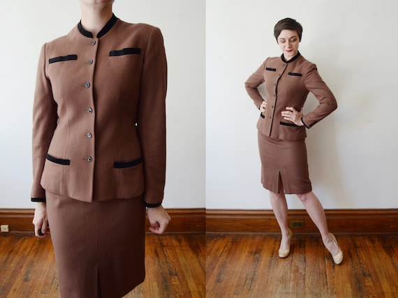 1990s Brown Wool Skirt Suit - S