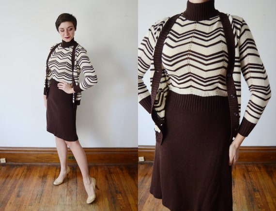 1970s Brown and White Sweater Dress - S/M