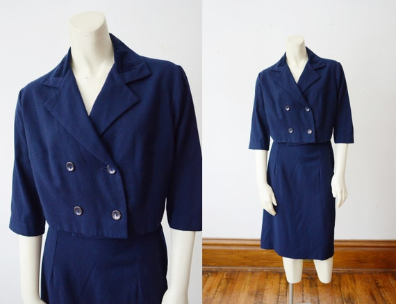 1960s Blue Skirt Suit - S