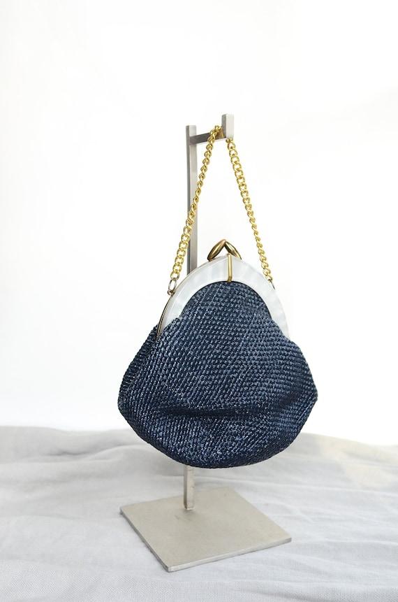 1950s Navy Straw Handbag