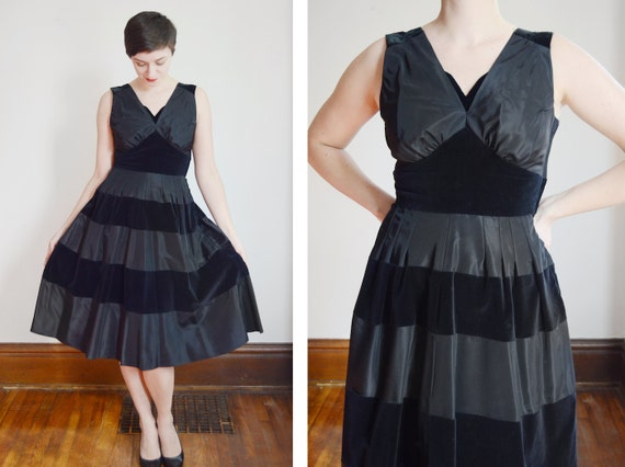 1950s Taffeta and Velvet Horizontal Striped Dress - M