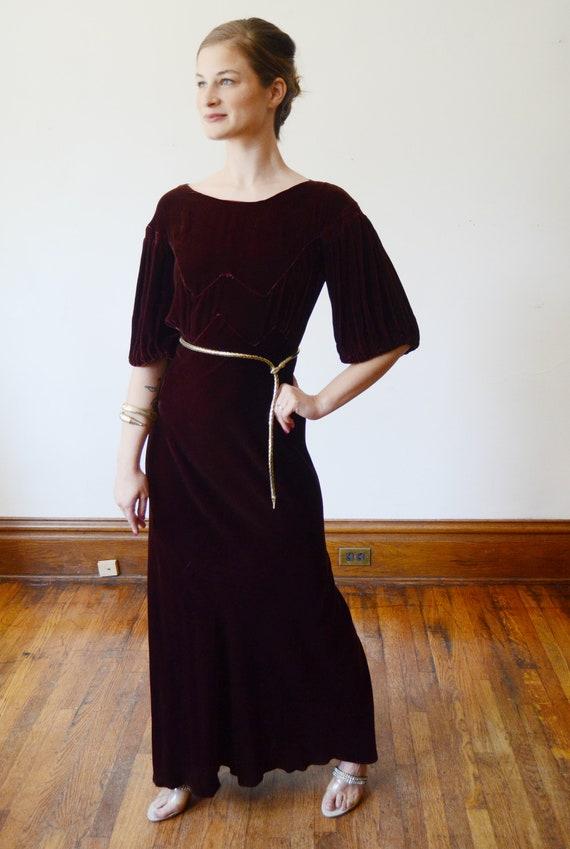 1930s Brown Velvet Puff Sleeve Dress - XS - image 4