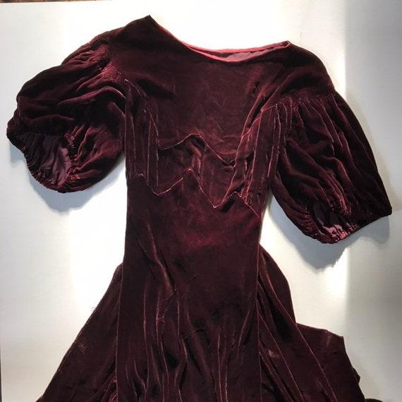 1930s Brown Velvet Puff Sleeve Dress - XS - image 9