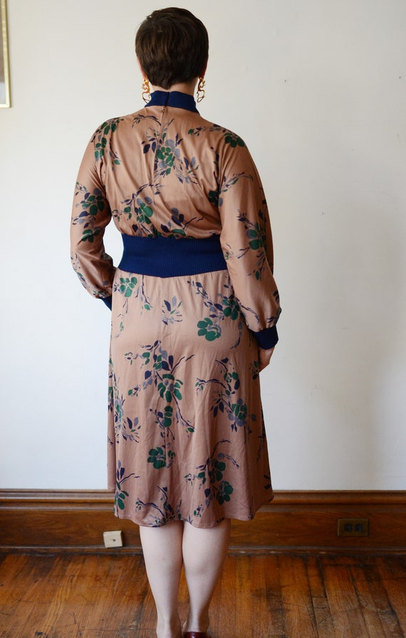 1980s Brown Floral Jersey Dress - M - image 2