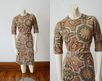 1960s Paisley Fitted Dress - XS