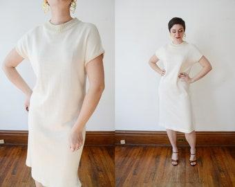 1980s Cream and Gold Sweater Dress - M