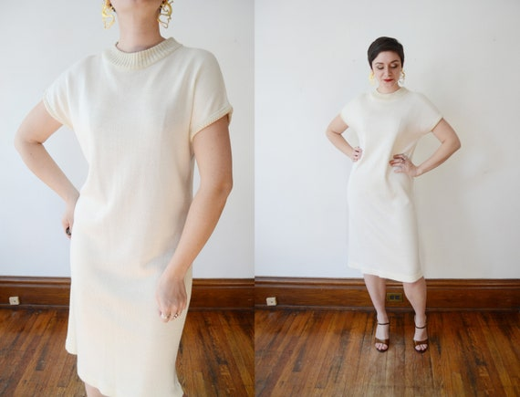 1980s Cream and Gold Sweater Dress - M