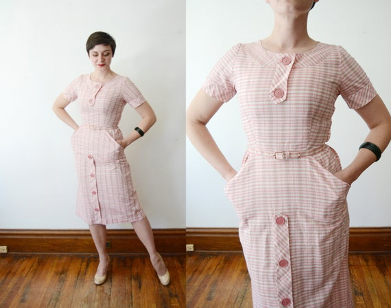 1950s Pink and Gold Plaid Dress - S
