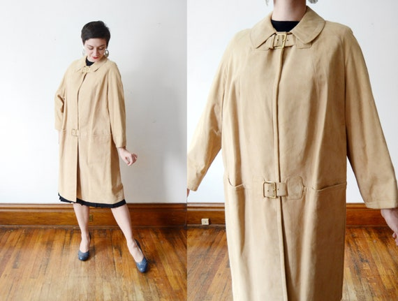 1960s Leather Coat With Buckles - S/M