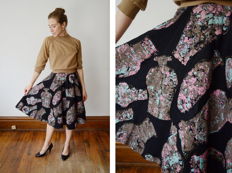 d65712a13a647 1950s Black Felt Circle Skirt - XS