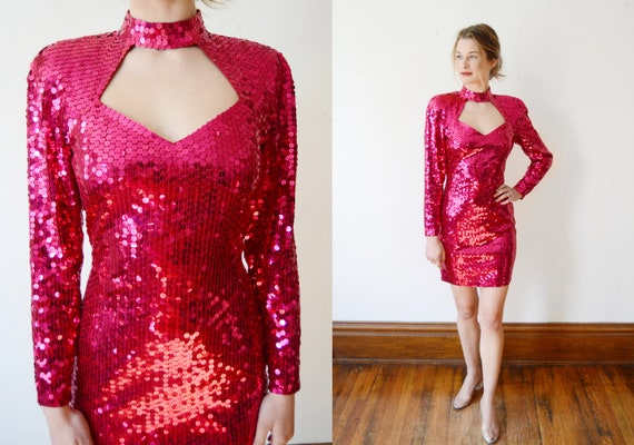 sparkle Multi-colored Sequined Blouse formal 1980/'s vintage silk sequined top paisley top troppobella hot pink