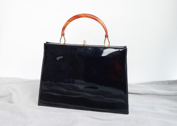 1950s Patent Handbag with Plastic Handle