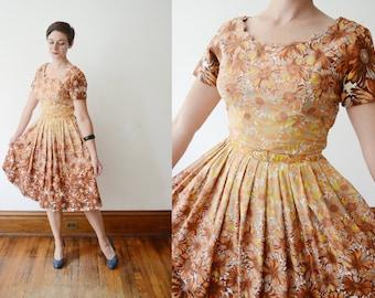 1950s Autumn Daisy Dress - S/M