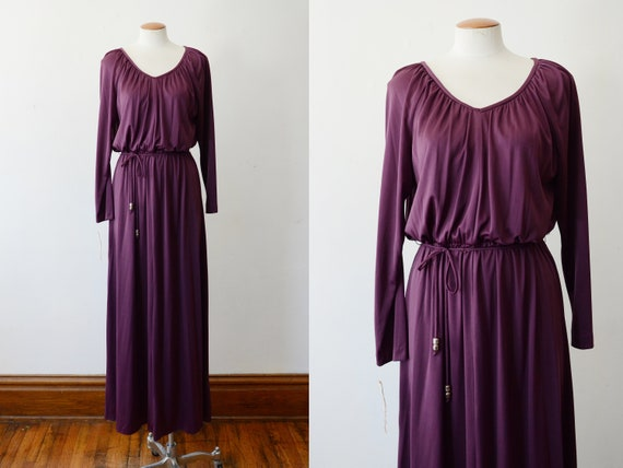 1970s Purple Disco Maxi Dress - S/M