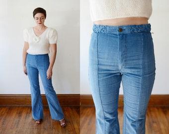 1970s Corduroy High Waisted Flare Pants - M