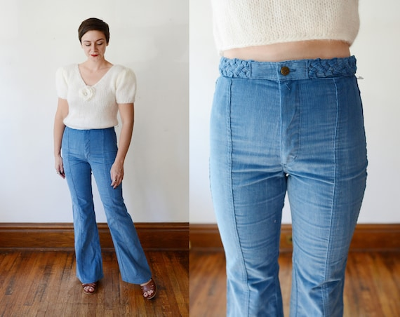 1970s Corduroy High Waisted Flare Pants - M