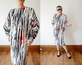 1980s Jackie Bernard Patterned Dress - M