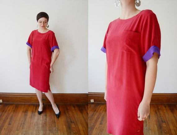 1980s Red Silk Dress - M