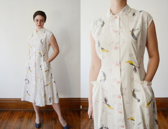 1950s Bird in a Cage Novelty Dress - M