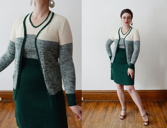 1970s Green Sweaterdress with Matching Cardigan - XS/S