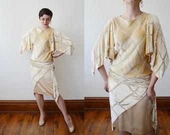1980s Burnout Velvet Dress - S