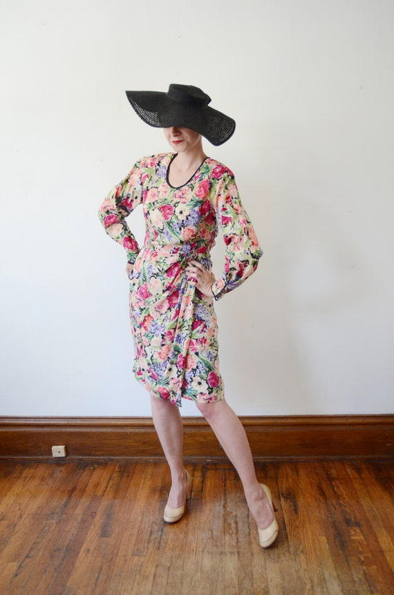 1980s Silk Floral Dress - M - image 9