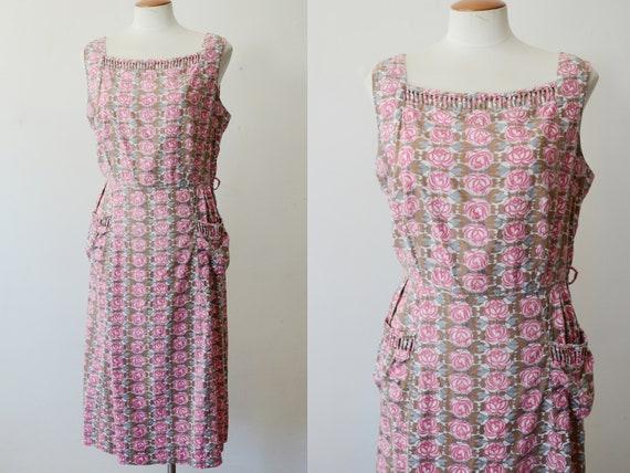 1950s Faded Rose Cotton Dress - M/L