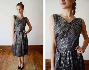 1960s Black and Silver Metallic Party Dress - S