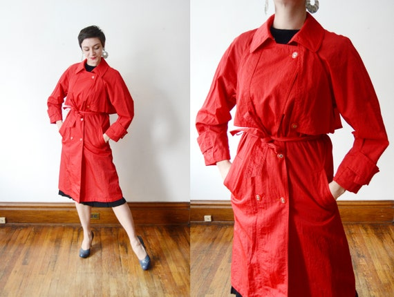 1980s Red Trench Coat - S/M