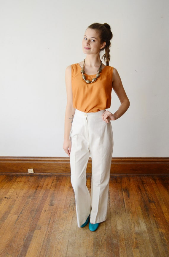 1970s Highwaist White Pants - S - image 5