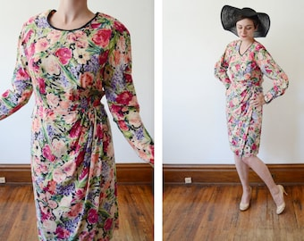 1980s Silk Floral Dress - M