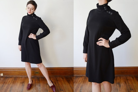 1980s Turtleneck Dress - M