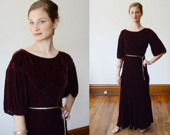 1930s Brown Velvet Puff Sleeve Dress - XS