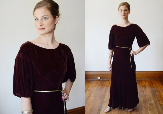 1930s Brown Velvet Puff Sleeve Dress - XS