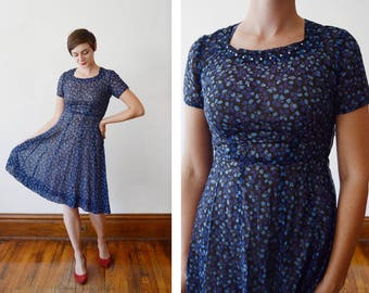 1950s Blue Floral Rhinestone Dress - S