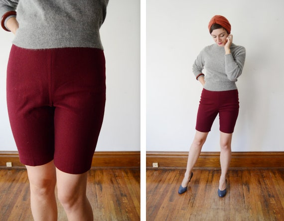 1960s Burgundy Wool Bermuda Shorts - S/M