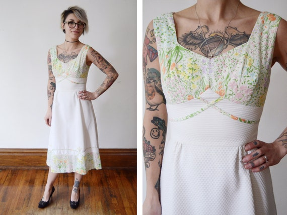 1970s White Floral Sundress - S