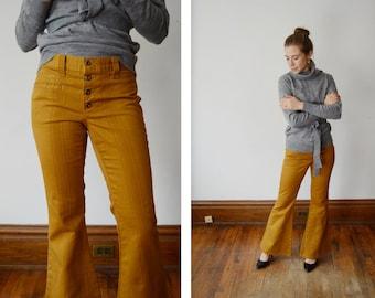 1970s Mustard Flare Pants - XS