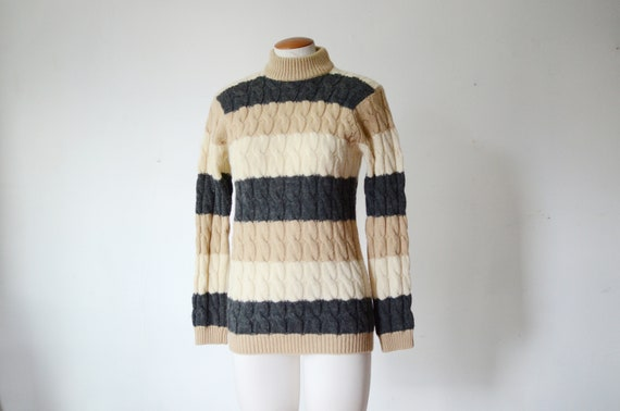 1960s Cable Knit Striped Sweater - S/M