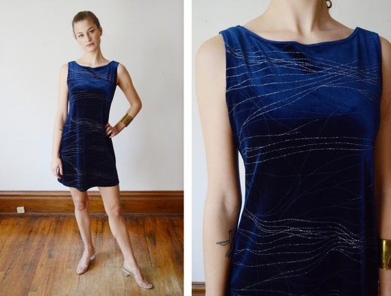 1990s Blue Stretch Velvet Mini Dress - S
