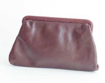 1970s Burgundy Leather Clutch