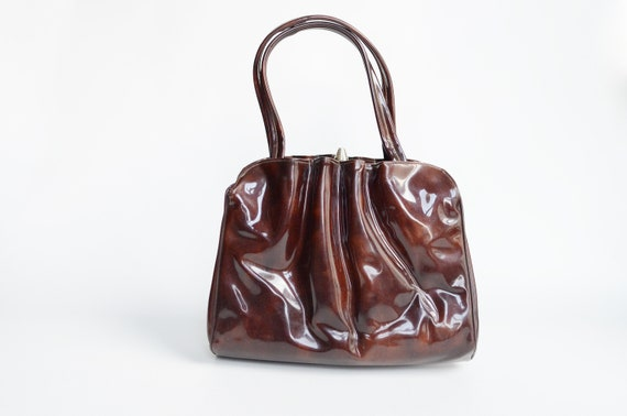1960s Brown Wavy Handbag