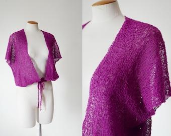 1980s Purple Knit Shrug - M/L/XL