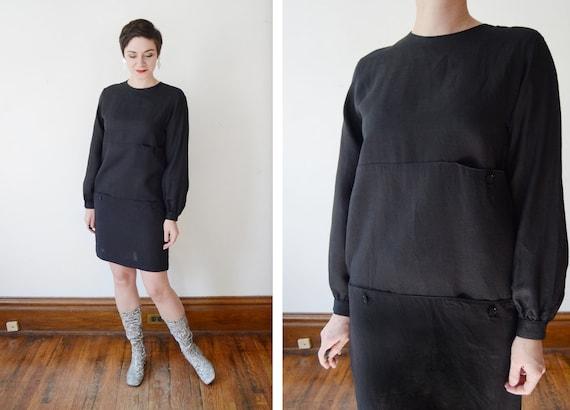 Stanley Sherman 1970s/1980s Black Linen Dress - S/M