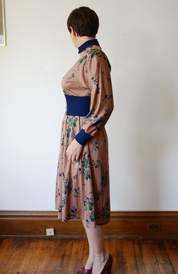 1980s Brown Floral Jersey Dress - M - image 3