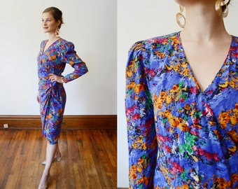 1980s Floral Print Silk Wrap Dress - M