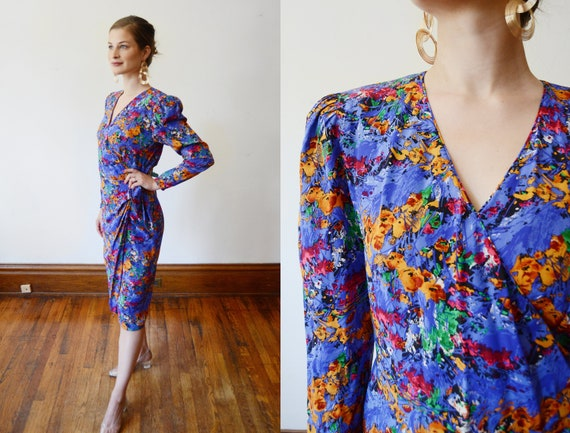1980s Floral Print Silk Wrap Dress - M