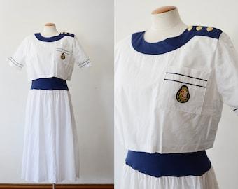 1980s Nautical White Dress - M/L