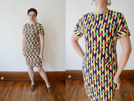 1980s Silk Heart Print Dress - M/L